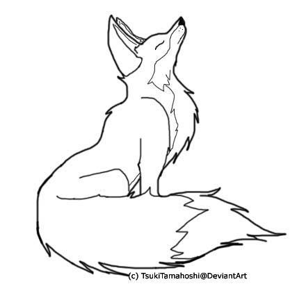 427x422 Fox Drawing Outline