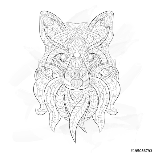 500x500 Ethnic Patterned Ornate Hand Drawn Head Of Fox. Black And White