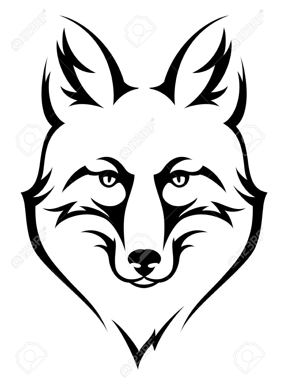 974x1300 Fox Head Clipart Black And White Hd Letters