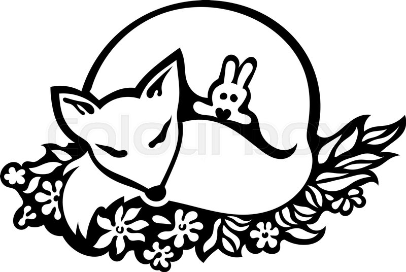 800x536 Sleeping Fox Drawing. Cute Fox Sleeping With A Bunny Toy On Flower