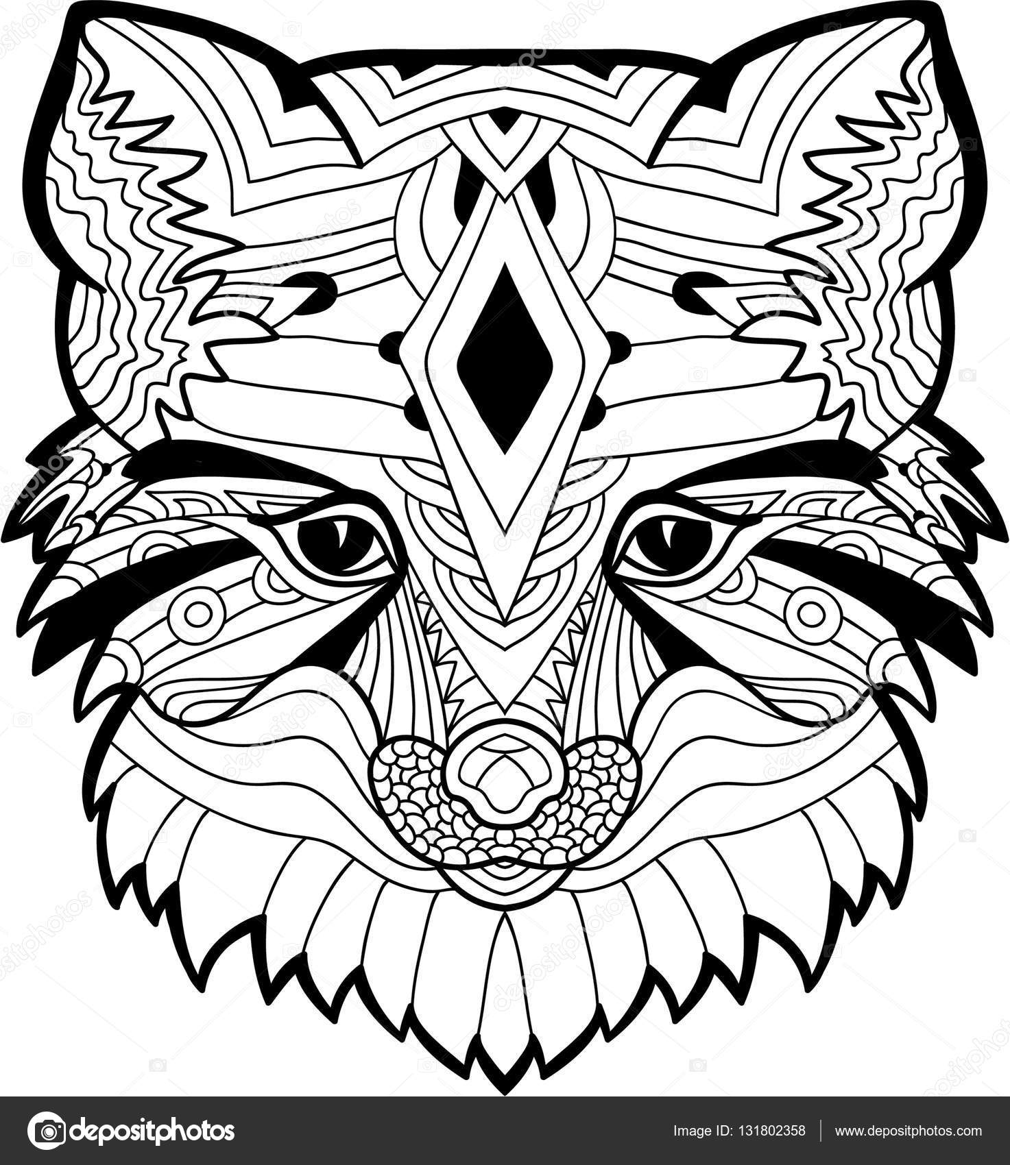 1473x1700 The Fox Head Pattern. Monochrome Ink Drawing Stock Vector