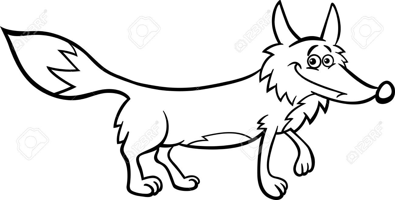 1300x659 Black And White Cartoon Illustration Of Funny Wild Fox Animal