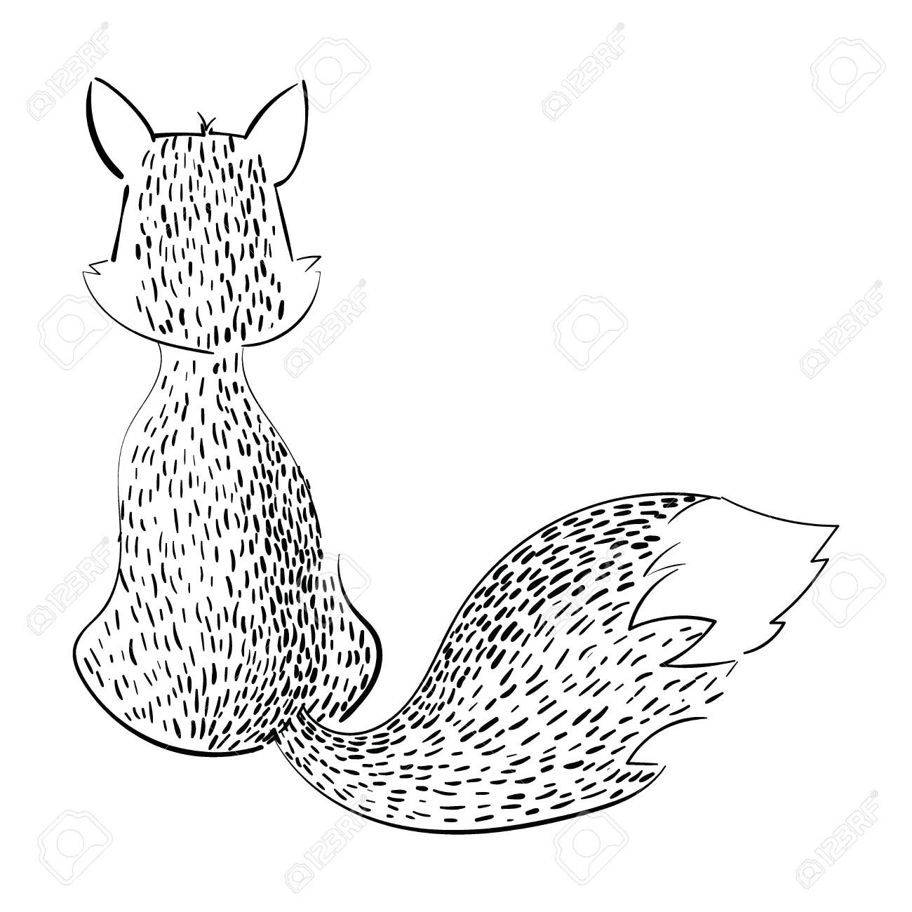 1300x1300 Cartoon Fox Sitting With Her Back. Stylized Black And White Fox