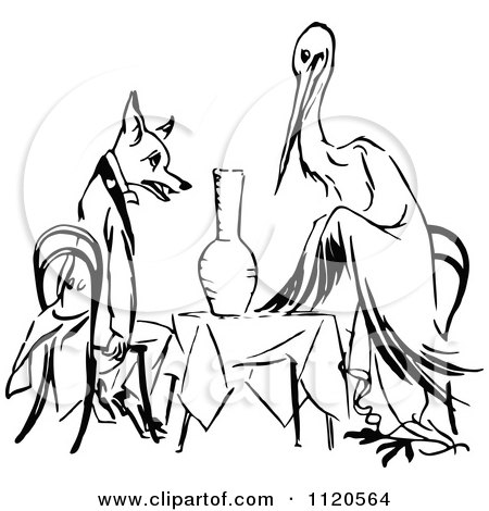 450x470 Clipart Of A Retro Vintage Black And White Stork And Fox Dining