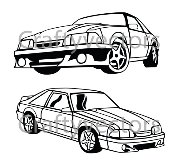 570x528 Ford Mustang Fox Body Vector Svg Cut File Ford Mustang, Mustang