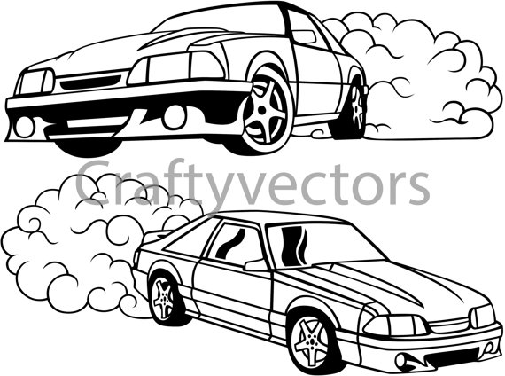 570x424 Ford Mustang Fox Body Vector Svg Cut File Mustang, Ford Mustang