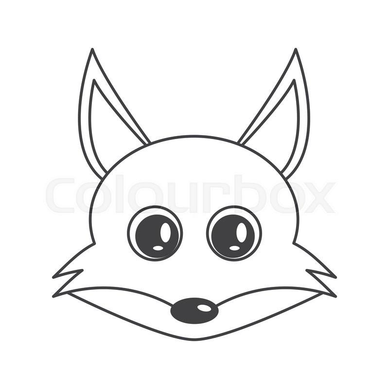 800x800 Flat Design Cute Fox Cartoon Icon Vector Illustration Stock