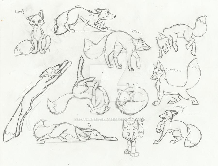 900x686 Fox Cartoon Sketches By Sapphire Blackrose