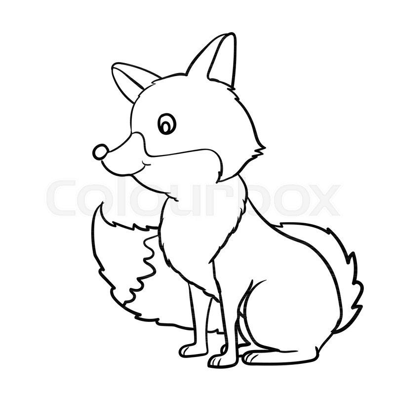 800x800 Hand Drawn Fox Cartoon, Isolated On White Background. Black