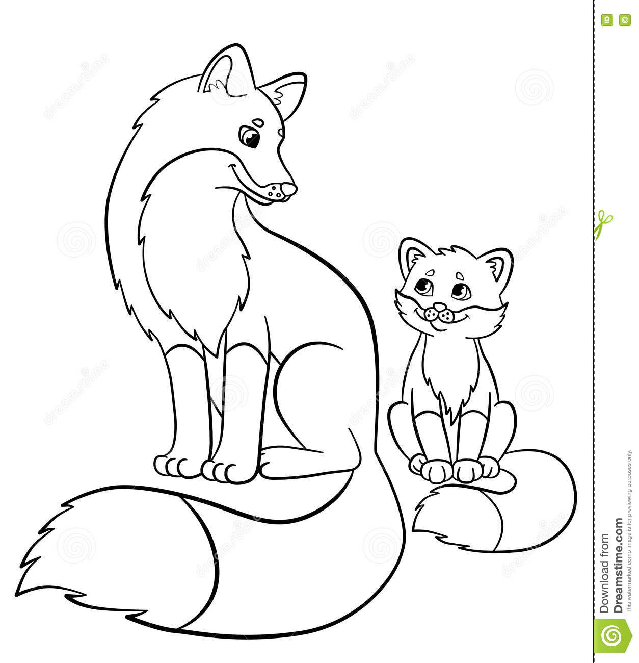 1254x1300 Coloring Pages Wild Animals Mother Fox With Her Little Cute Baby