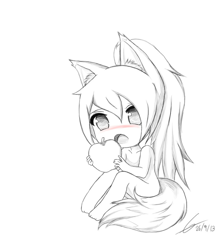 900x1011 Cute Anime Girl Sketch Chibi