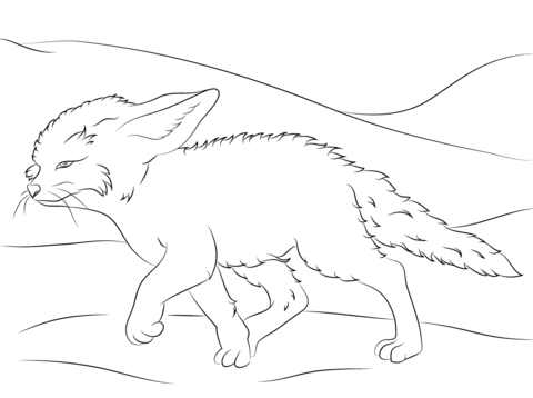 480x358 Cute Fennec Fox Walks Coloring Page Free Printable Coloring Pages