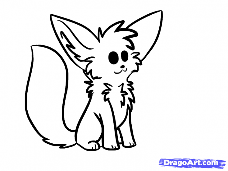 750x563 Drawing Simple Arctic Fox Drawing With Cute Fox Drawing Gif