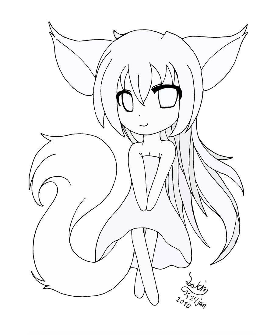 900x1101 Chibi Fox Girl Lineart By Joakaha