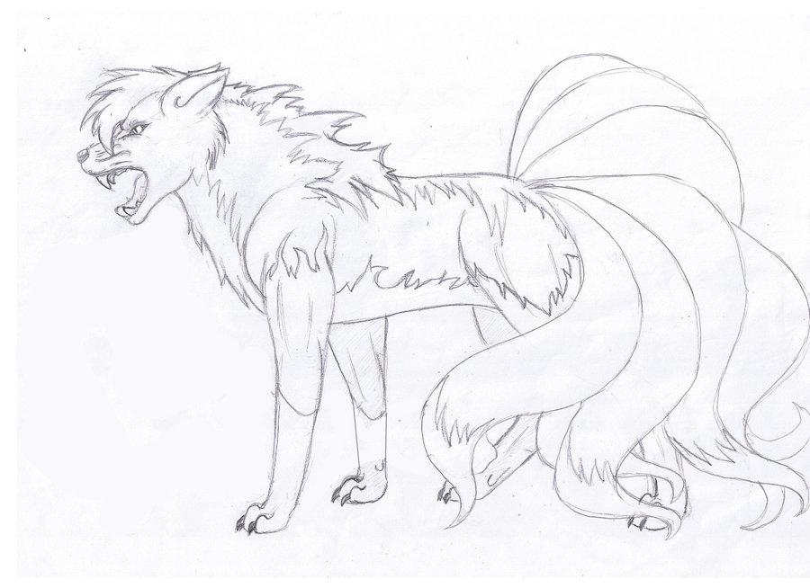 900x654 Nine Tailed Fox Drawing By Katy500