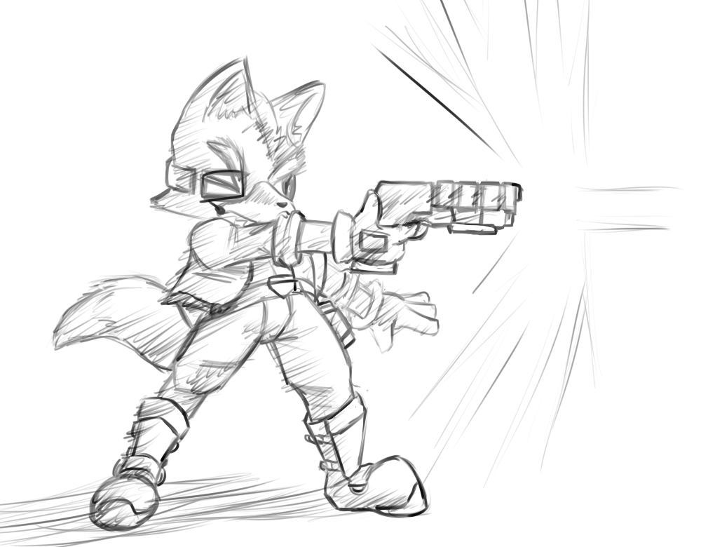 1000x780 Star Fox Sketch By Inkdragonworks