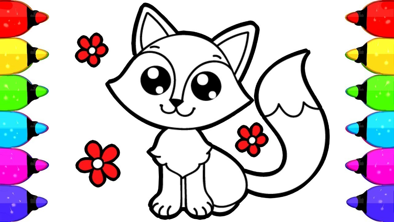 1280x720 Fox Coloring Book Pages for Kids How to Draw and Color Fox