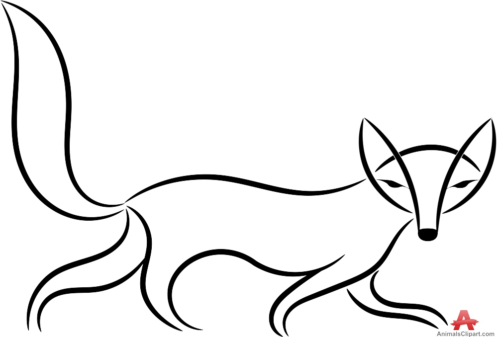 Line Drawing Fox : Fox outline drawing at getdrawings.com free for personal use