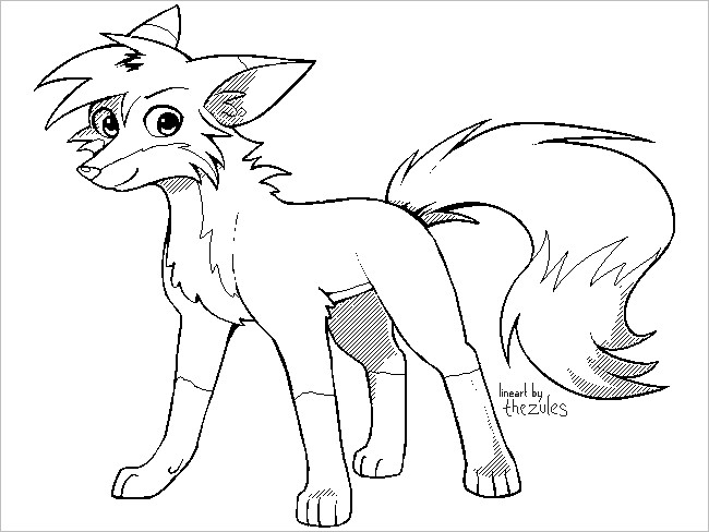 Fox Outline Drawing
