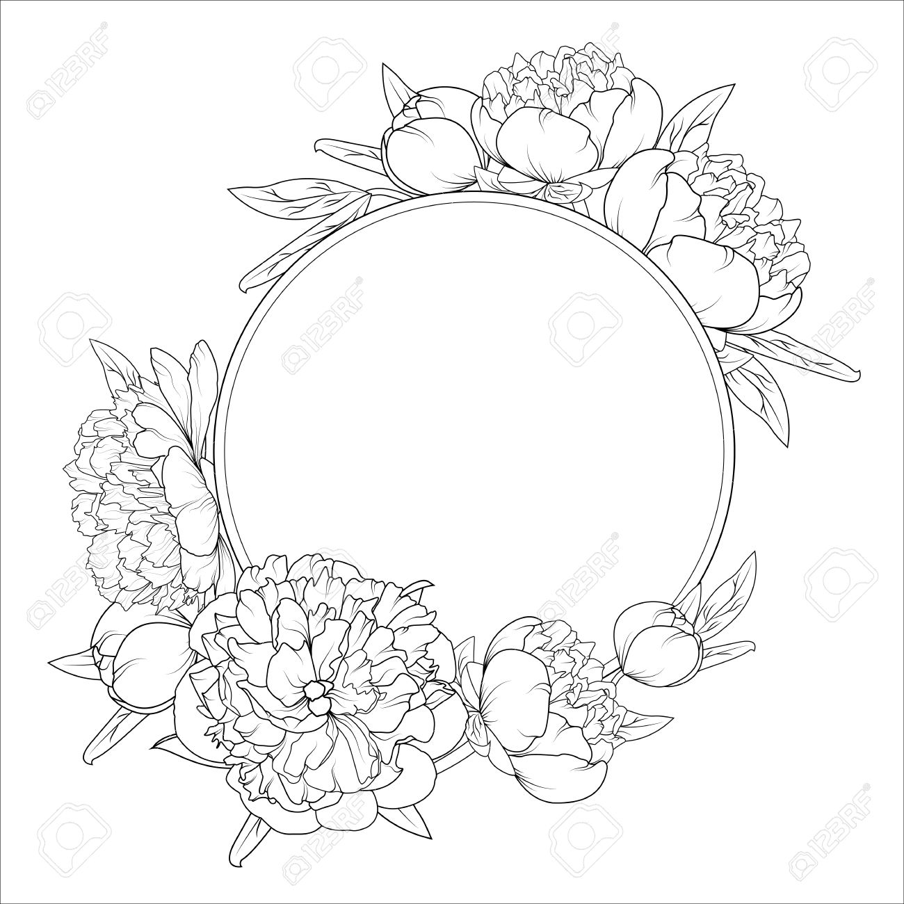 1300x1300 Rose Peony Spring Summer Flowers Round Frame Wreath. Detailed
