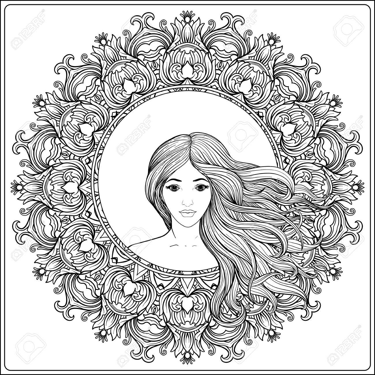 1300x1300 Young Beautiful Girl With Long Hair In Rich Decorated Floral