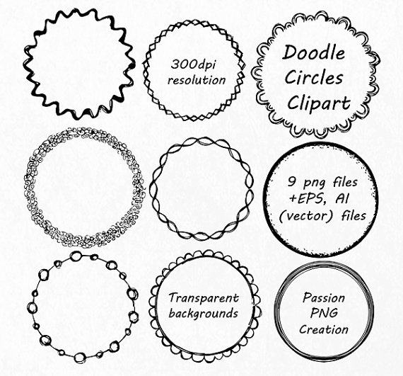 570x531 Doodle Circle Clipart, Hand Drawn Circle Frames Clip Art, Png, Eps