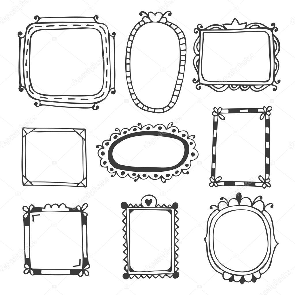 1024x1024 Hand Drawn Frames. Vintage Photo Frames Stock Vector Saenal78