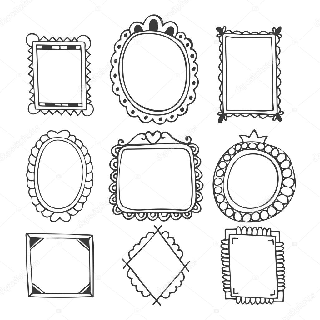 1024x1024 Collection Of Hand Drawn Frames. Vintage Photo Frames Stock