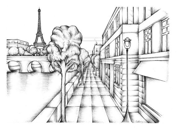 570x422 Paris France Bank The River Seine Art Ink Drawing Choice