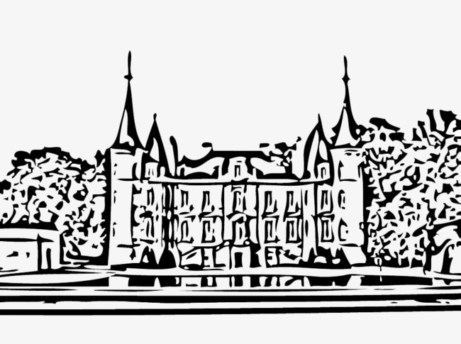 650x485 Sketch Style French Chateau Vector, Sketch Style, France, Chateau