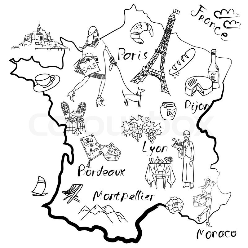 800x800 Stylized Map Of France Things That Different Regions In France Are