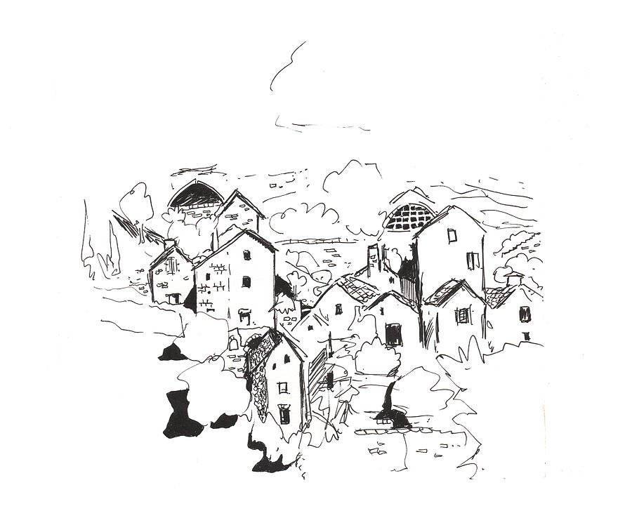 900x748 Village In Gorges Du Tarn In France Drawing By Kev Moore