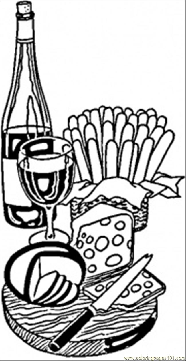650x1263 Wine And Cheese From France Coloring Page