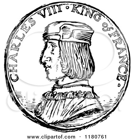 450x470 Clipart A Retro Vintage Black And White Charles Viii King
