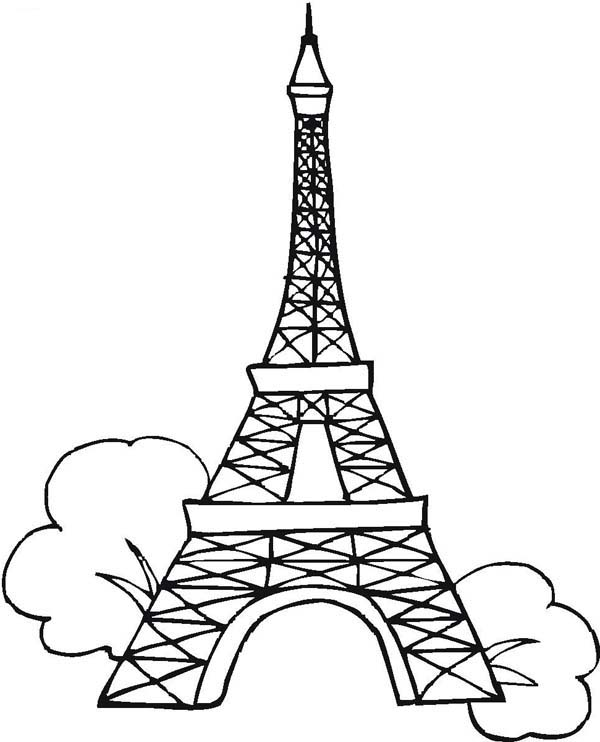 600x742 Eiffel Tower Coloring Page The France Building Icon