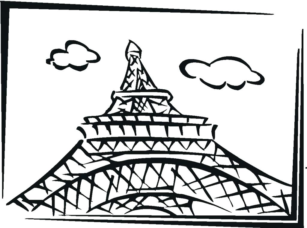 1024x763 Eiffel Tower Coloring Pages Also Tower Coloring Page 2 France