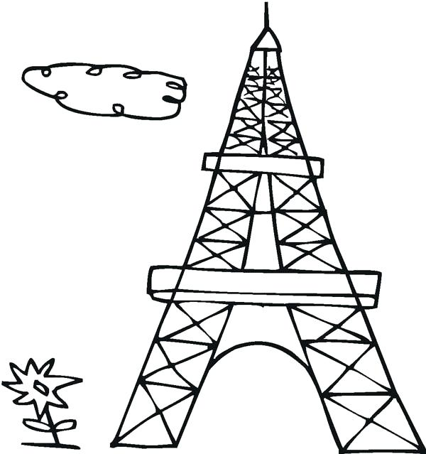 600x639 Eiffel Tower Coloring Pages Drawing French Tower Coloring Page