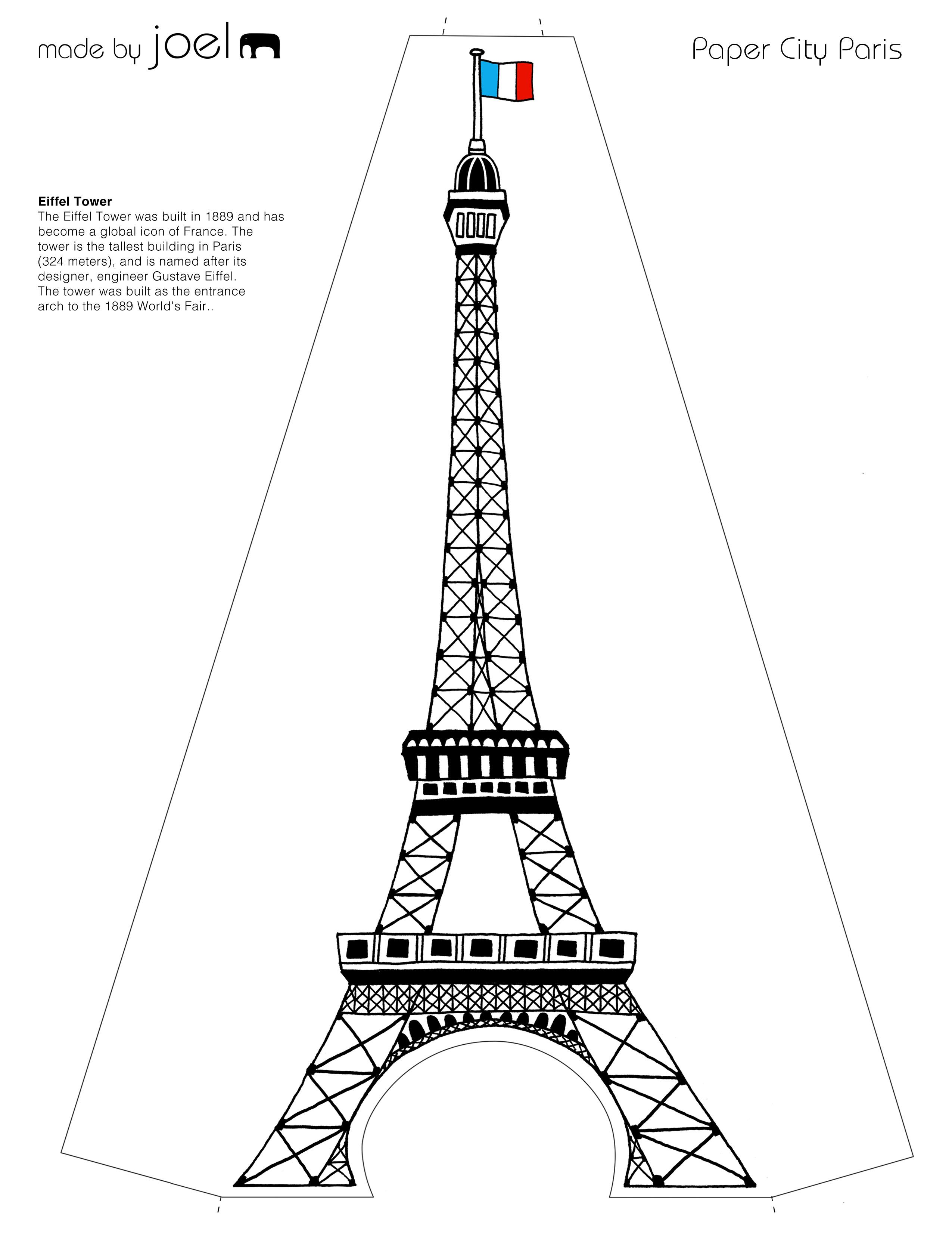2550x3300 Made By Joel Paper City Paris Eiffel Tower Template