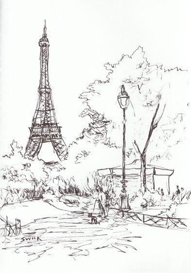 393x560 Drawn Eiffel Tower Easy French