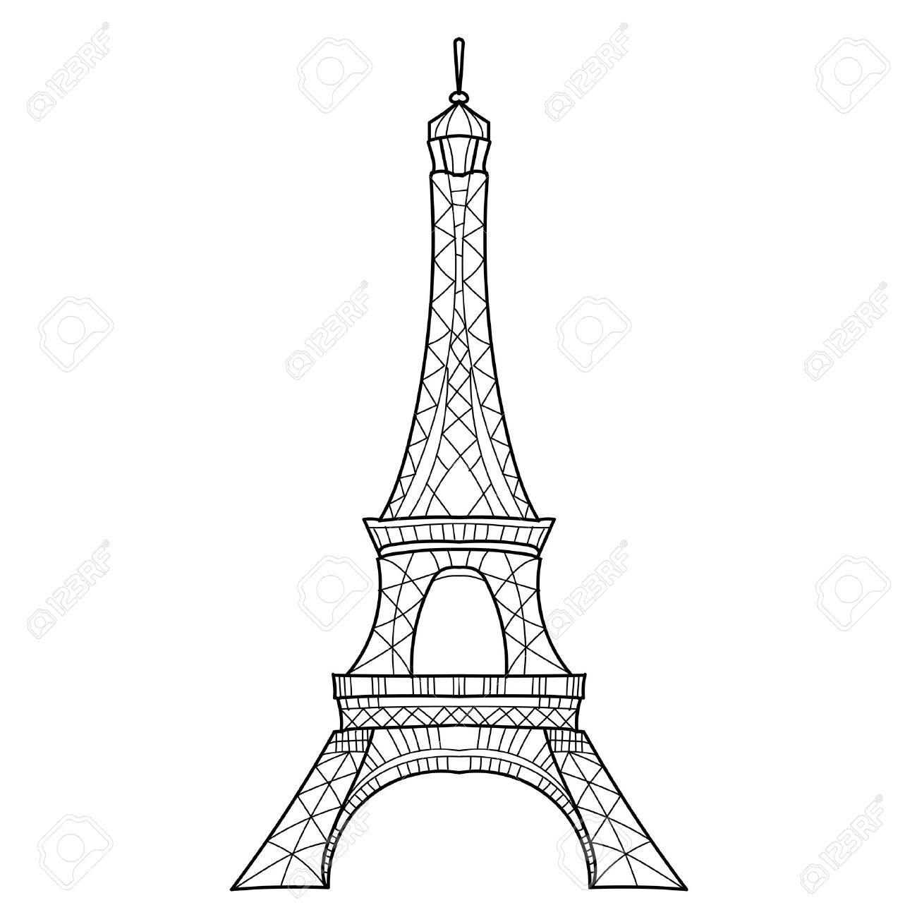 1300x1300 Zentangle Stylized Eiffel Tower Hand Drawn Vector Illustration