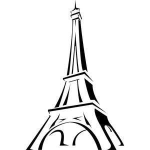 300x300 Eiffel Tower In France Line Art Vector Drawing Logo Illustration