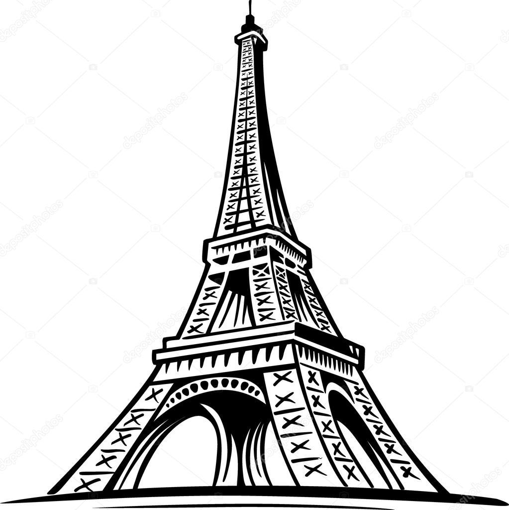 1023x1024 Hand Drawn Eiffel Tower, Paris, France Stock Vector Volod2943