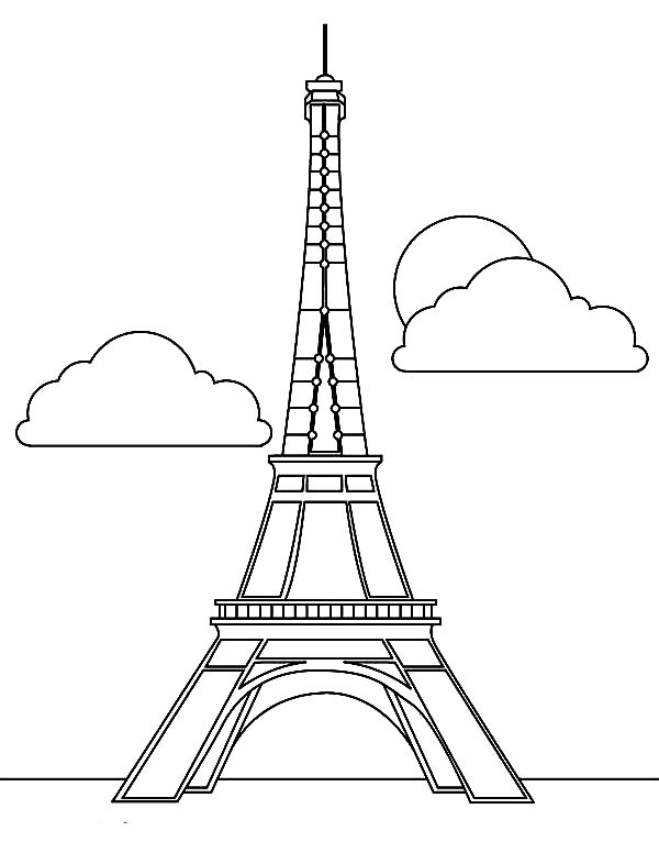 600x776 Eiffel Tower Coloring Page
