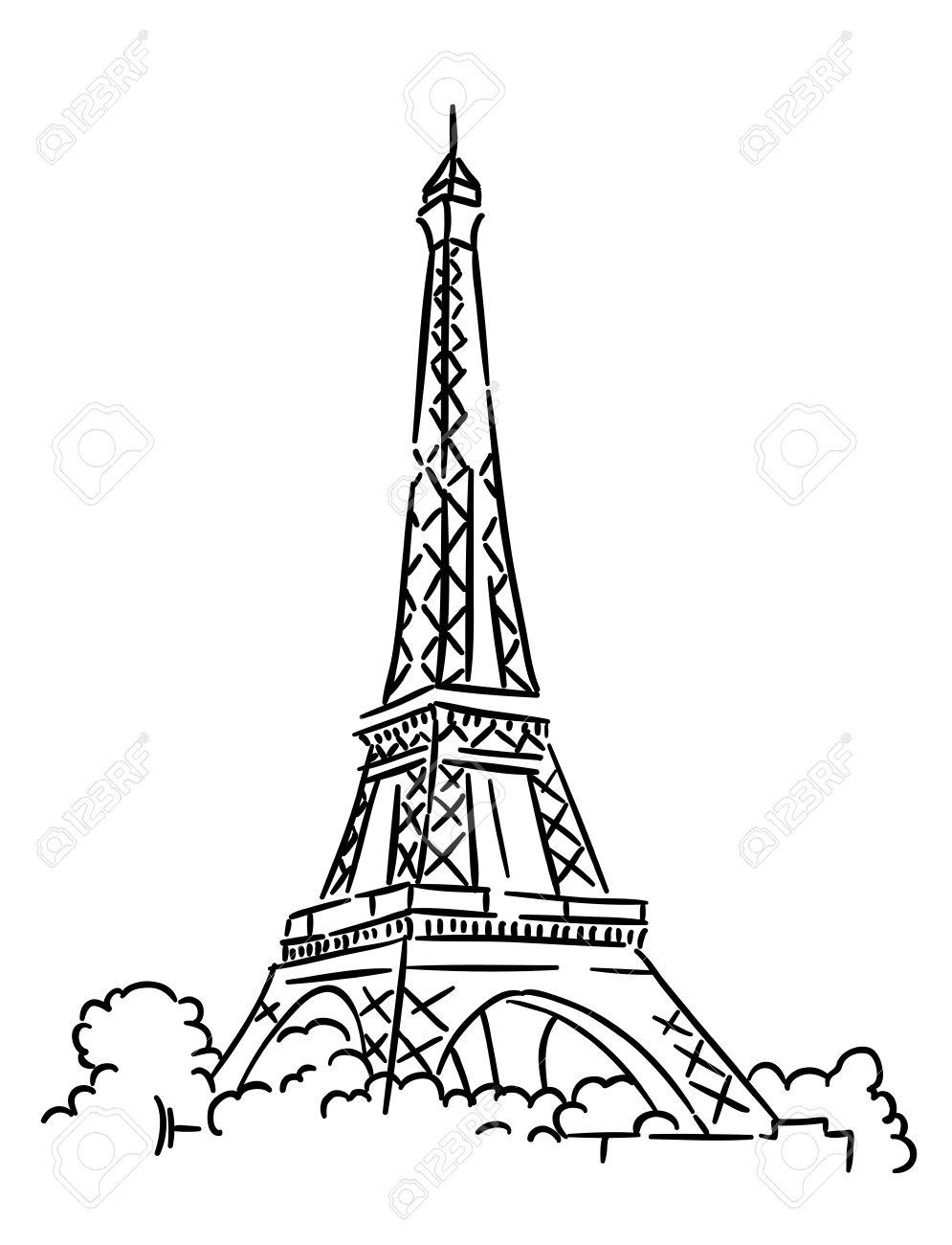 995x1300 Eiffel Tower In Paris, France. Sketch Vector Illustration Royalty