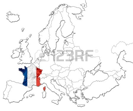 450x376 The National France Flag In The Map Of Europe Isolated On White