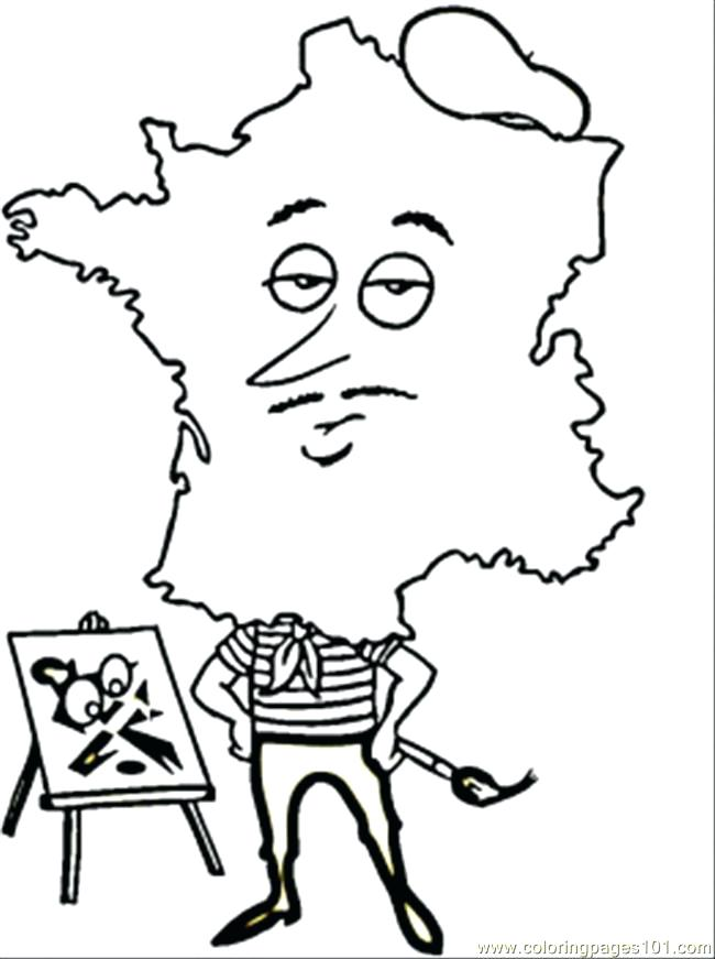 650x871 France Flag Coloring Page