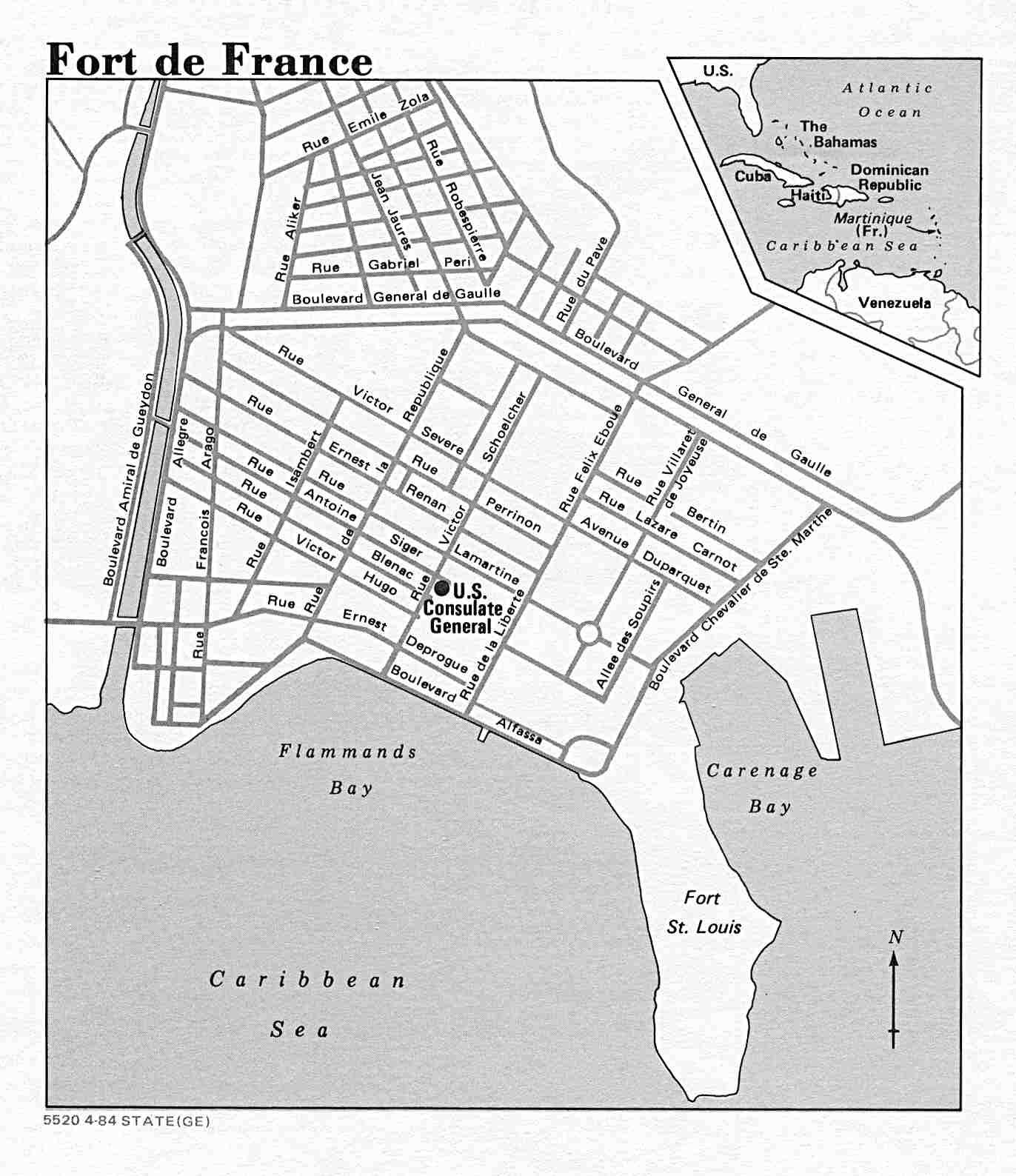 1372x1588 Fort De France Street Map