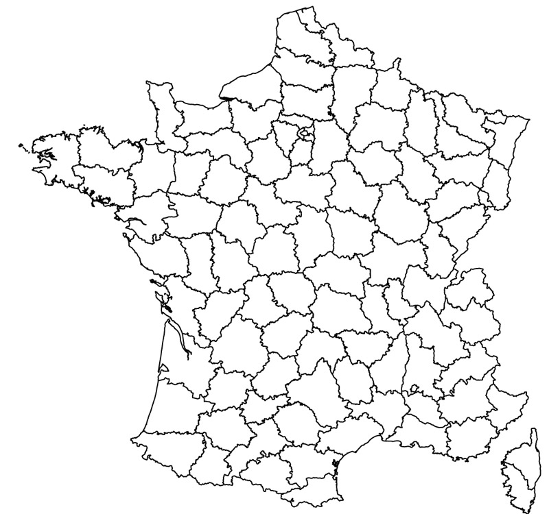 800x750 France Coloured And Outline Maps Of The Departments