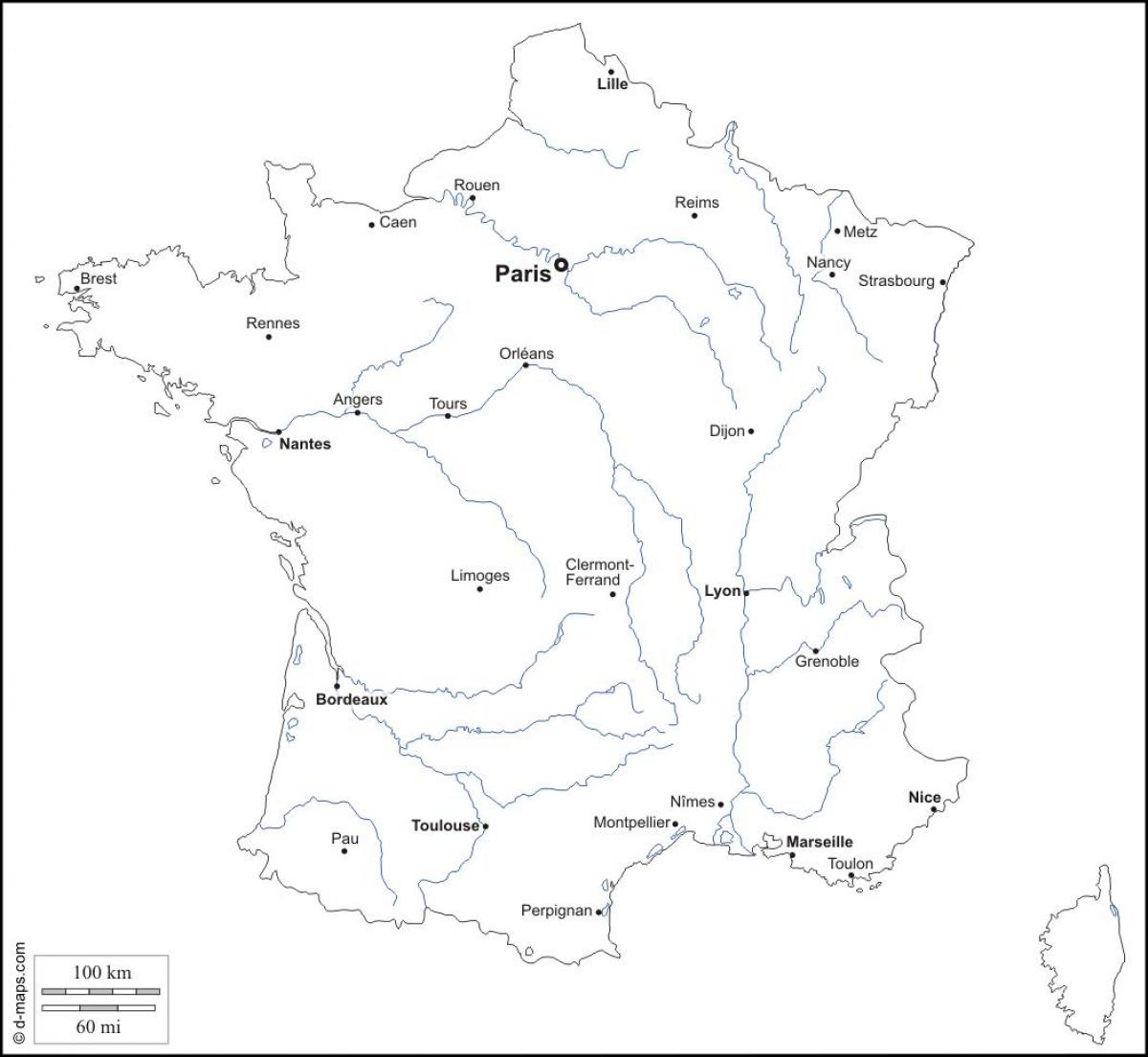 1200x1105 Outline Map Of France