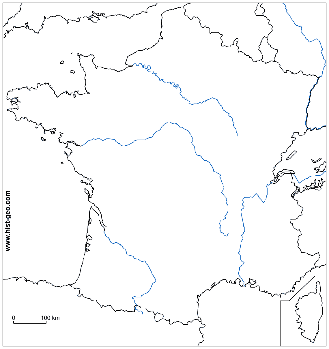 1140x1210 Blank Map Of France With Main Rivers